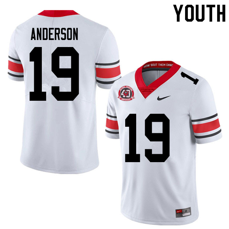 2020 Youth #19 Adam Anderson Georgia Bulldogs 1980 National Champions 40th Anniversary College Footb