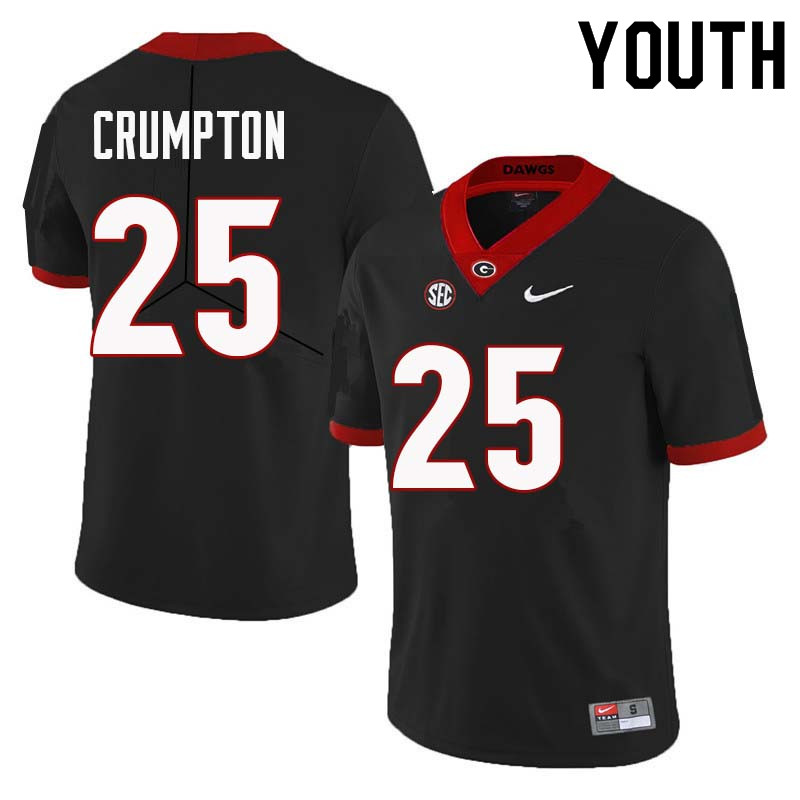 Youth Georgia Bulldogs #25 Ahkil Crumpton College Football Jerseys Sale-Black