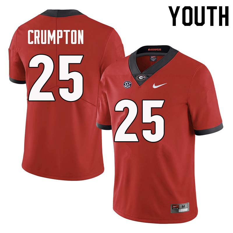 Youth Georgia Bulldogs #25 Ahkil Crumpton College Football Jerseys Sale-Red