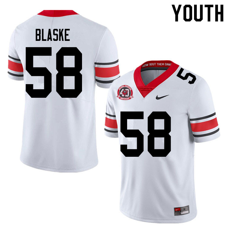 2020 Youth #58 Austin Blaske Georgia Bulldogs 1980 National Champions 40th Anniversary College Footb