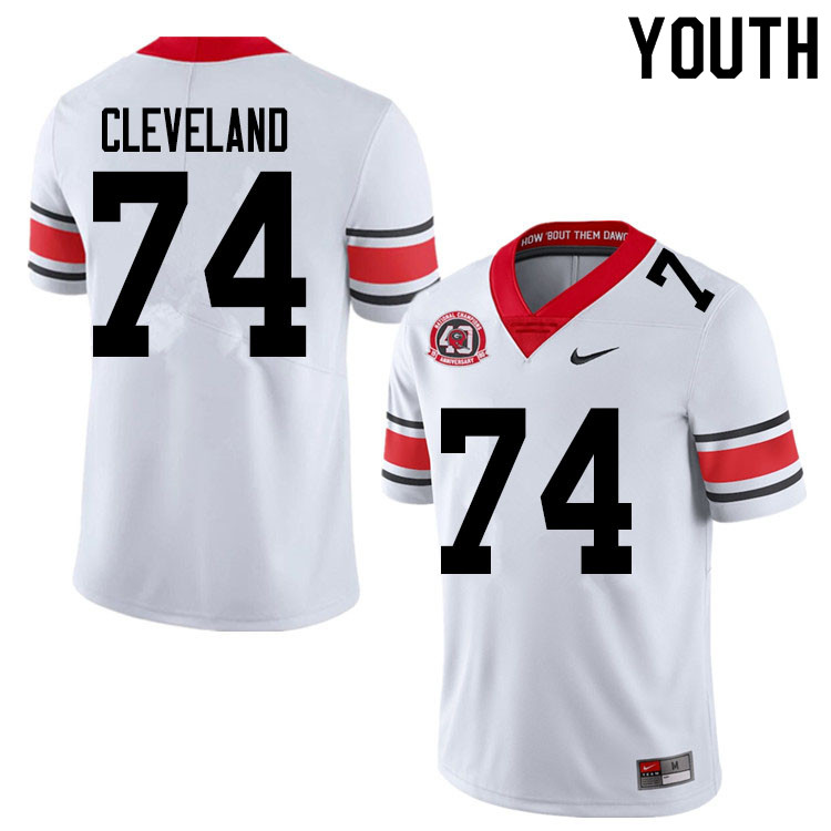 2020 Youth #74 Ben Cleveland Georgia Bulldogs 1980 National Champions 40th Anniversary College Footb