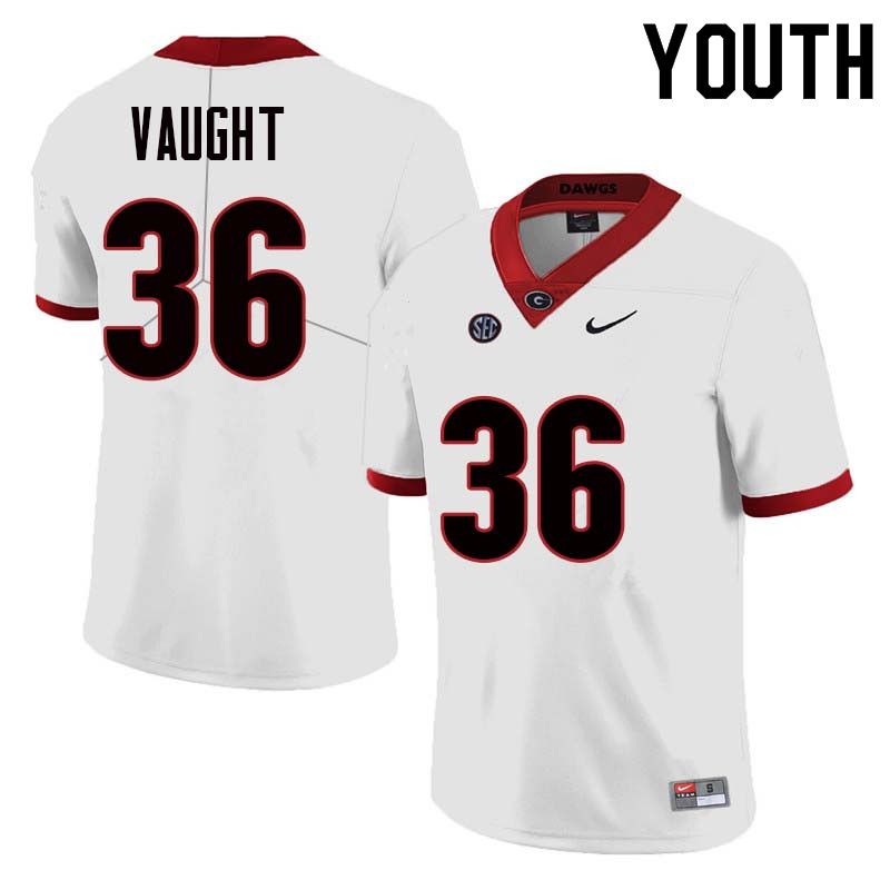 Youth Georgia Bulldogs #36 Bender Vaught College Football Jerseys Sale-White
