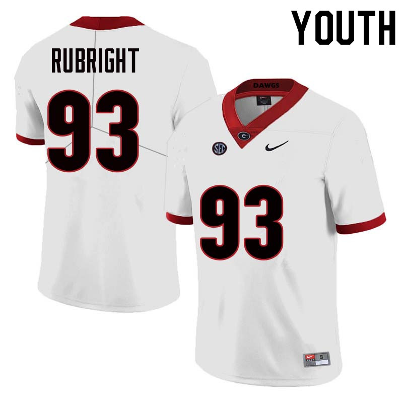 Youth Georgia Bulldogs #93 Bill Rubright College Football Jerseys Sale-White