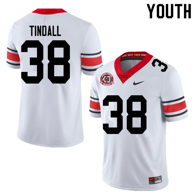 2020 Youth #38 Brady Tindall Georgia Bulldogs 1980 National Champions 40th Anniversary College Footb