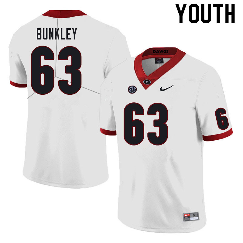 Youth #63 Brandon Bunkley Georgia Bulldogs College Football Jerseys Sale-White