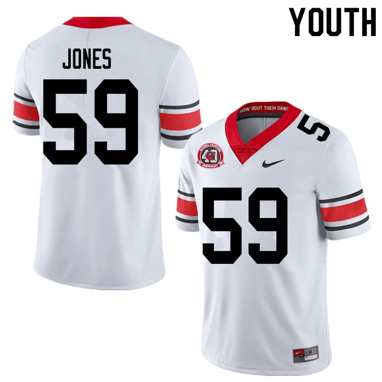 2020 Youth #59 Broderick Jones Georgia Bulldogs 1980 National Champions 40th Anniversary College Foo