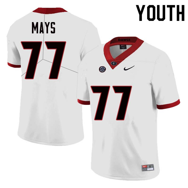 Youth Georgia Bulldogs #77 Cade Mays College Football Jerseys Sale-White
