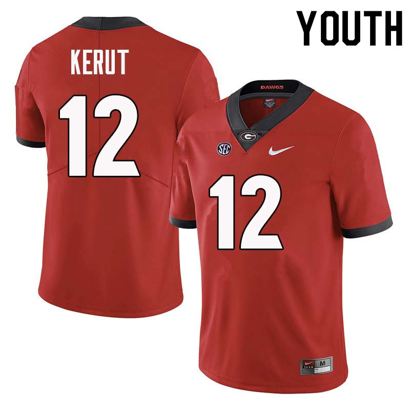 Youth Georgia Bulldogs #12 Christian Kerut College Football Jerseys Sale-Red