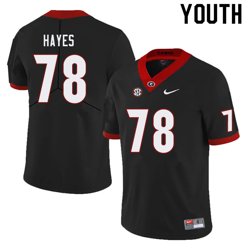 Youth #78 D'Marcus Hayes Georgia Bulldogs College Football Jerseys Sale-Black