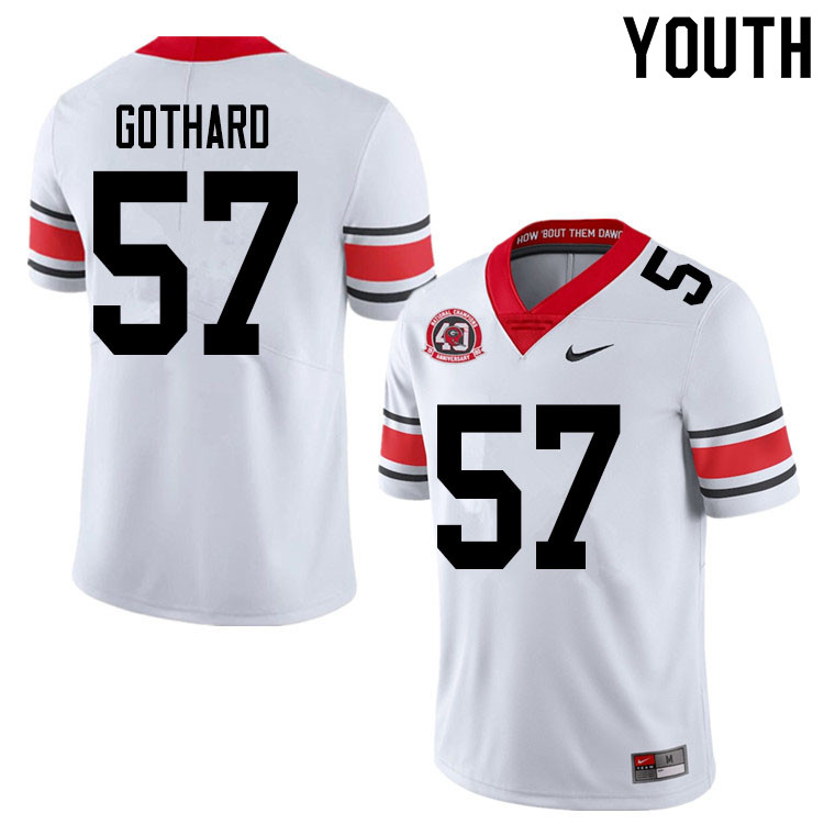 2020 Youth #57 Daniel Gothard Georgia Bulldogs 1980 National Champions 40th Anniversary College Foot
