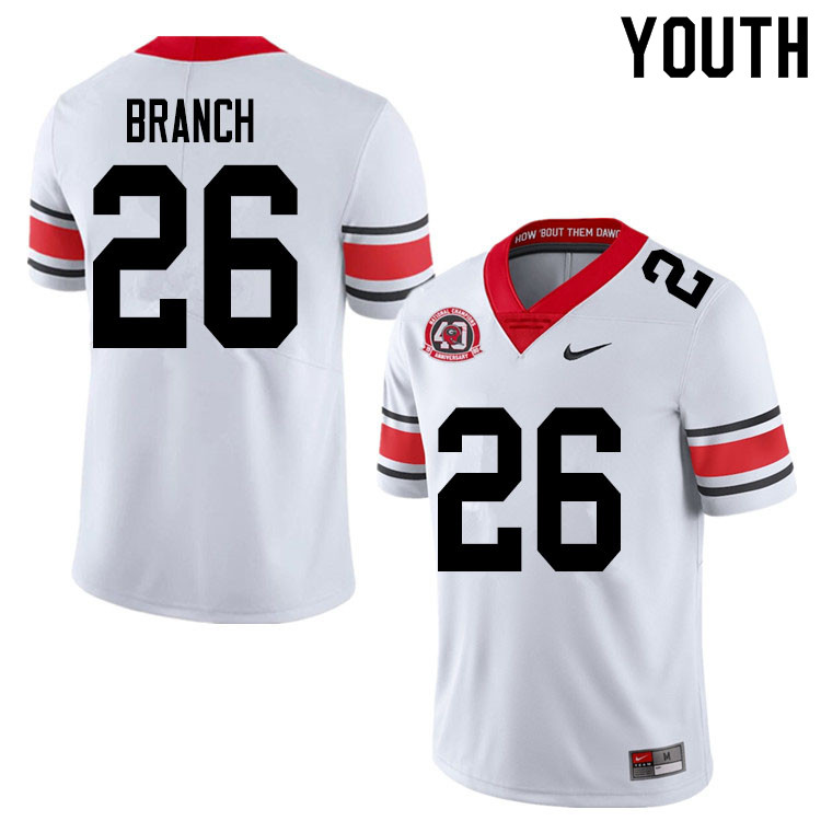 2020 Youth #26 Daran Branch Georgia Bulldogs 1980 National Champions 40th Anniversary College Footba