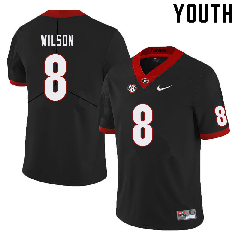 Youth #8 Divaad Wilson Georgia Bulldogs College Football Jerseys Sale-Black