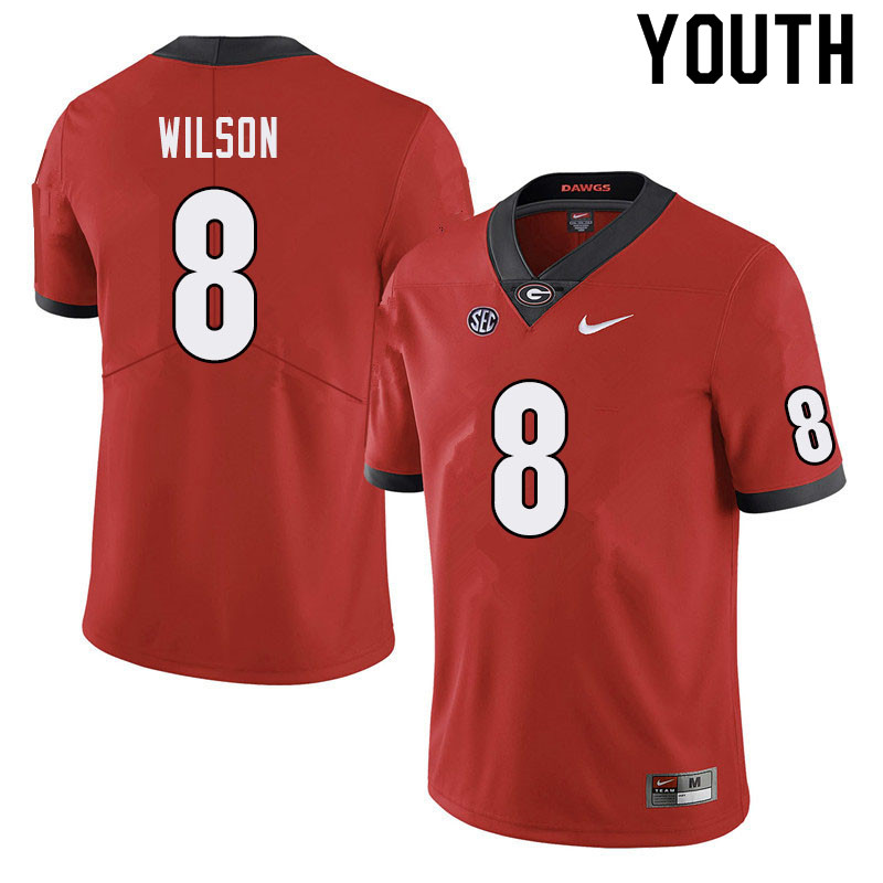Youth #8 Divaad Wilson Georgia Bulldogs College Football Jerseys Sale-Red