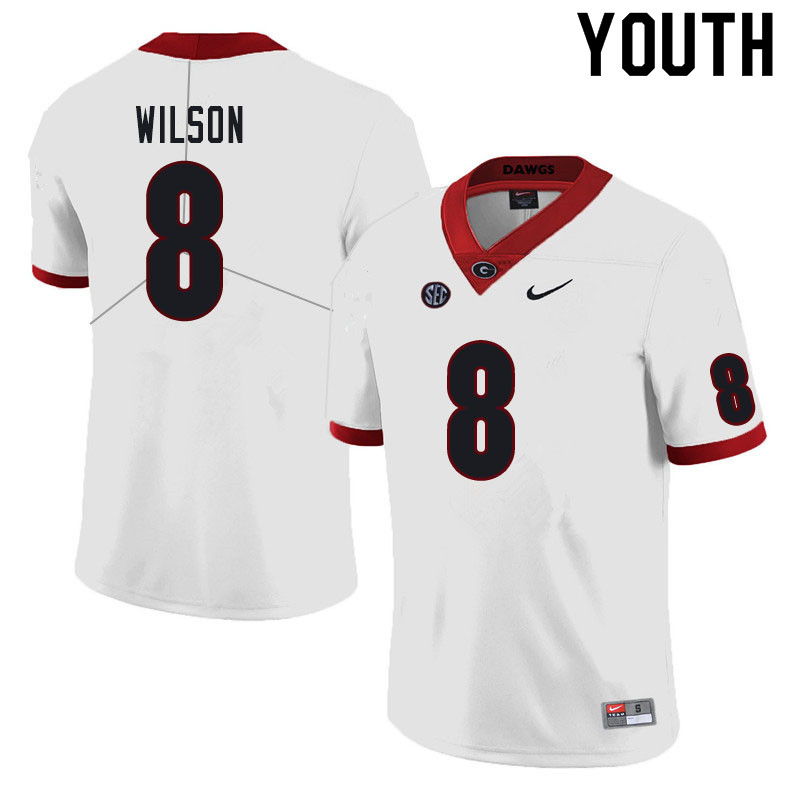Youth #8 Divaad Wilson Georgia Bulldogs College Football Jerseys Sale-White