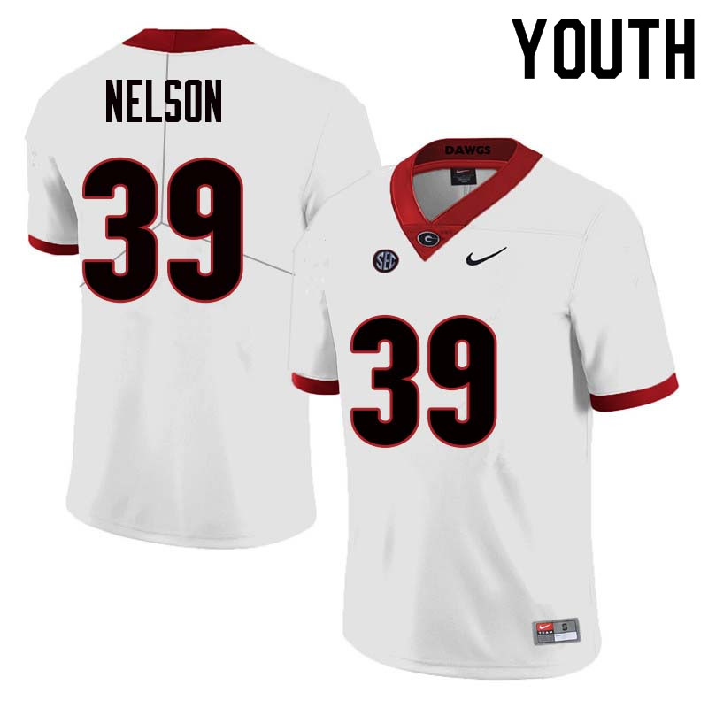 Youth Georgia Bulldogs #39 Hugh Nelson College Football Jerseys Sale-White