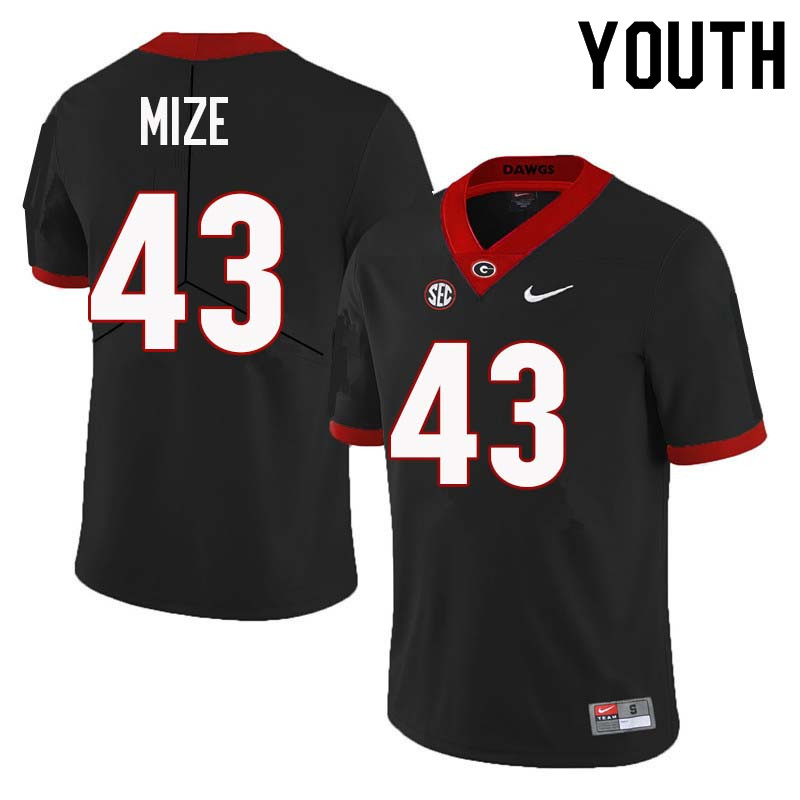 Youth Georgia Bulldogs #43 Isaac Mize College Football Jerseys Sale-Black