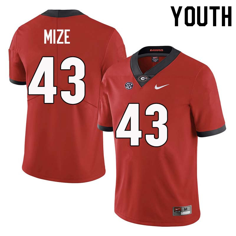 Youth Georgia Bulldogs #43 Isaac Mize College Football Jerseys Sale-Red