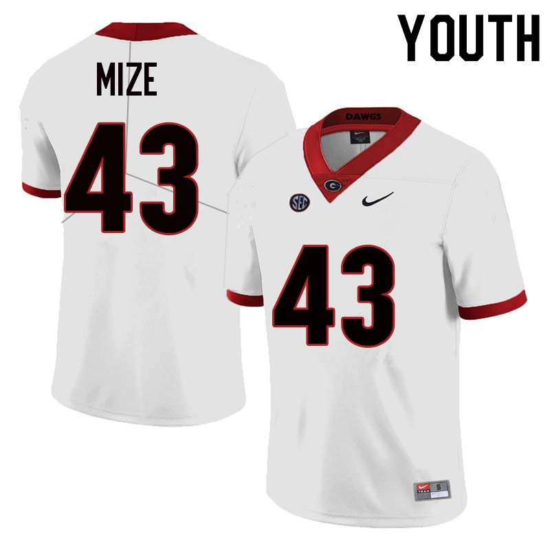 Youth Georgia Bulldogs #43 Isaac Mize College Football Jerseys Sale-White