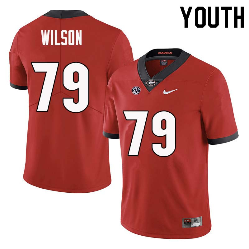 Youth Georgia Bulldogs #79 Isaiah Wilson College Football Jerseys Sale-Red