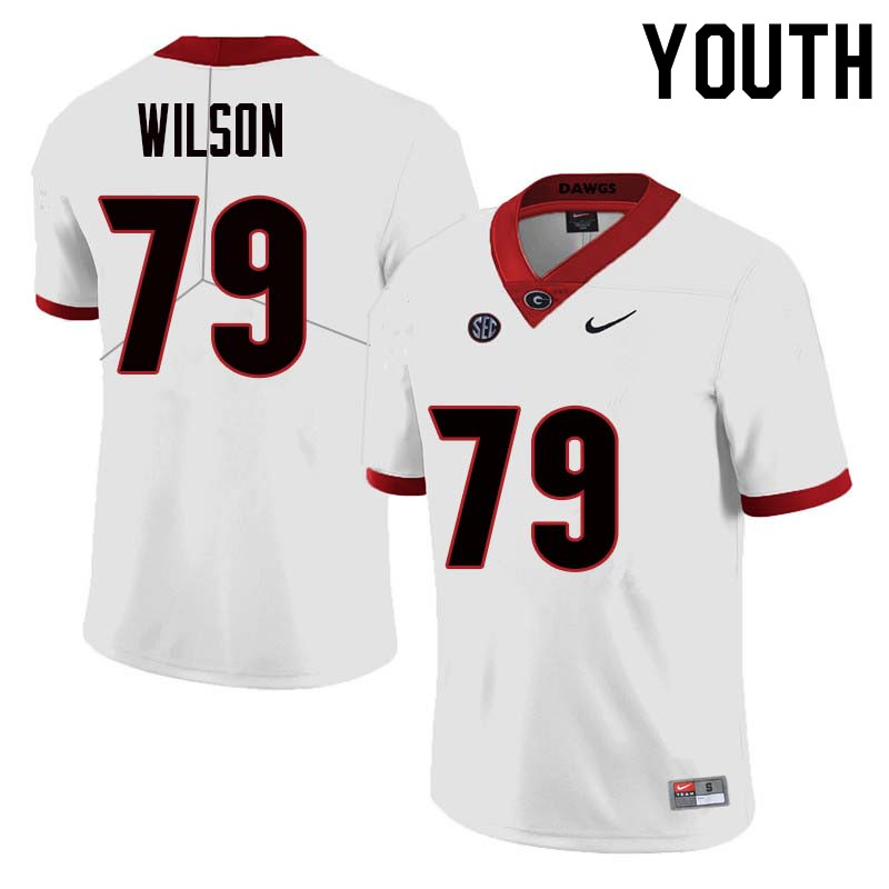 Youth Georgia Bulldogs #79 Isaiah Wilson College Football Jerseys Sale-White