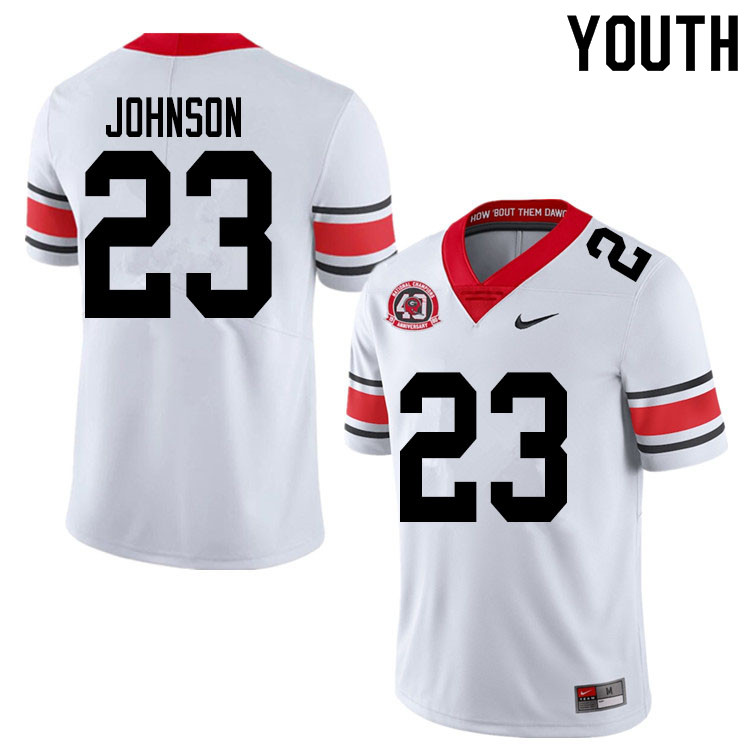 2020 Youth #23 Jaylen Johnson Georgia Bulldogs 1980 National Champions 40th Anniversary College Foot
