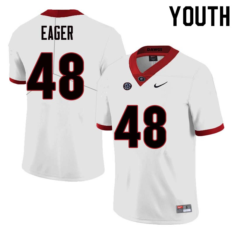 Youth Georgia Bulldogs #48 John Eager College Football Jerseys Sale-White
