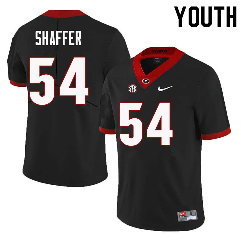 Youth Georgia Bulldogs #54 Justin Shaffer College Football Jerseys Sale-Black
