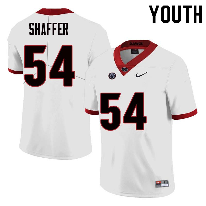 Youth Georgia Bulldogs #54 Justin Shaffer College Football Jerseys Sale-White