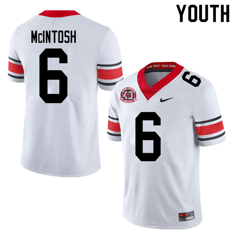 2020 Youth #6 Kenny McIntosh Georgia Bulldogs 1980 National Champions 40th Anniversary College Footb