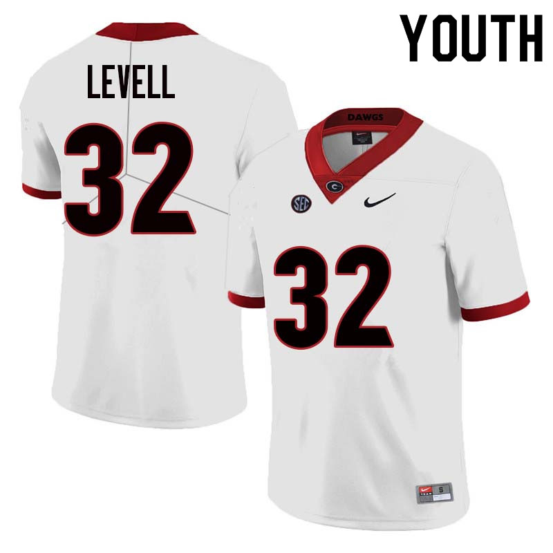 Youth Georgia Bulldogs #32 Kyle Levell College Football Jerseys Sale-White