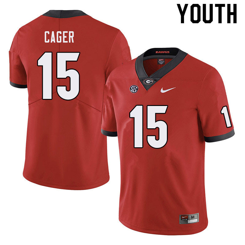 Youth #15 Lawrence Cager Georgia Bulldogs College Football Jerseys Sale-Red
