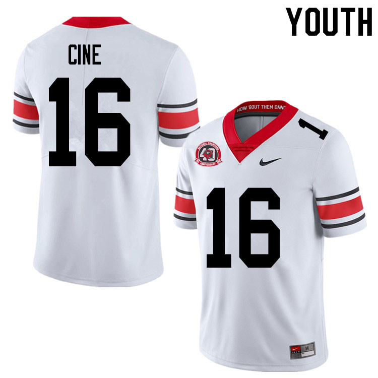 2020 Youth #16 Lewis Cine Georgia Bulldogs 1980 National Champions 40th Anniversary College Football