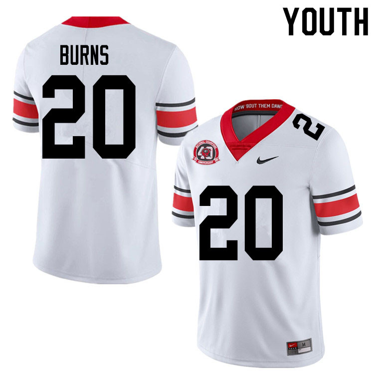 2020 Youth #20 Major Burns Georgia Bulldogs 1980 National Champions 40th Anniversary College Footbal