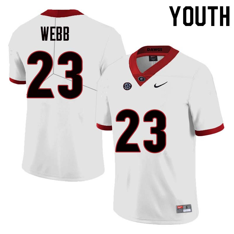 Youth Georgia Bulldogs #23 Mark Webb College Football Jerseys Sale-White
