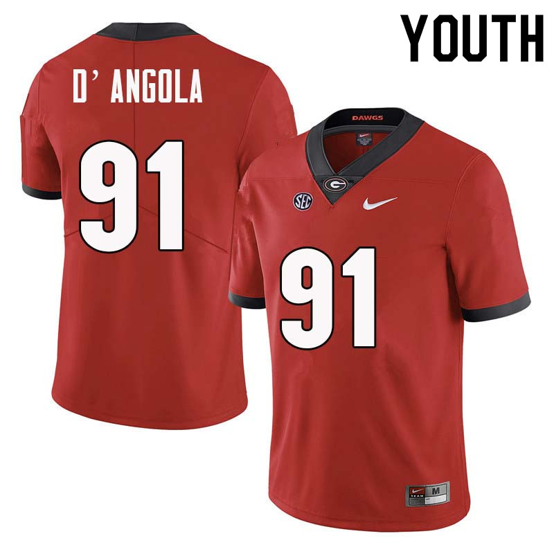 Youth Georgia Bulldogs #91 Michael D'Angola College Football Jerseys Sale-Red