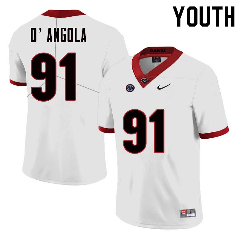 Youth Georgia Bulldogs #91 Michael D'Angola College Football Jerseys Sale-White