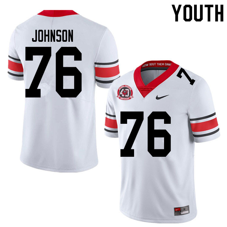 2020 Youth #76 Miles Johnson Georgia Bulldogs 1980 National Champions 40th Anniversary College Footb