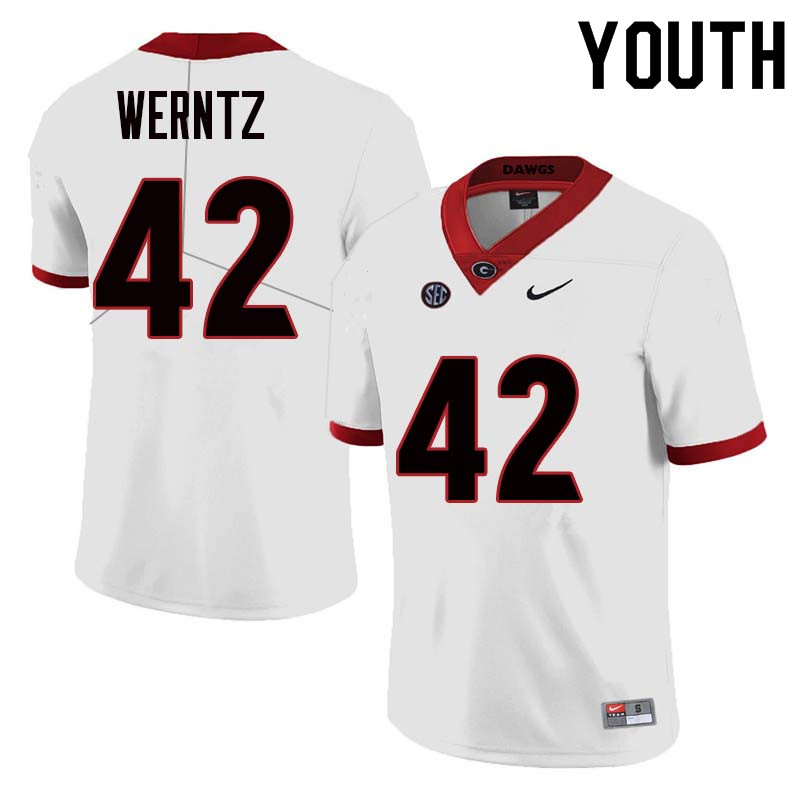 Youth Georgia Bulldogs #42 Mitchell Werntz College Football Jerseys Sale-White