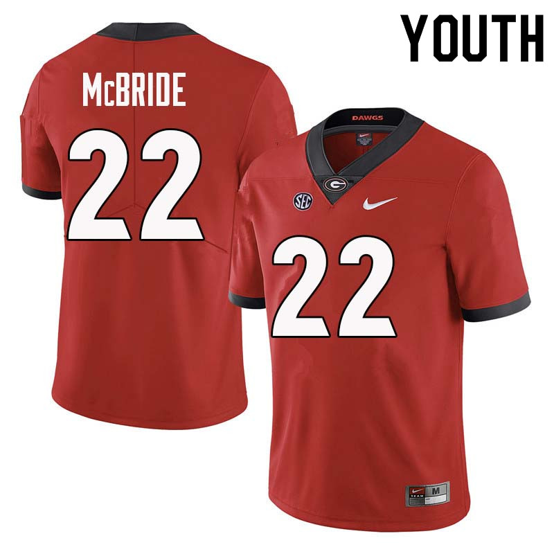 Youth Georgia Bulldogs #22 Nate McBride College Football Jerseys Sale-Red