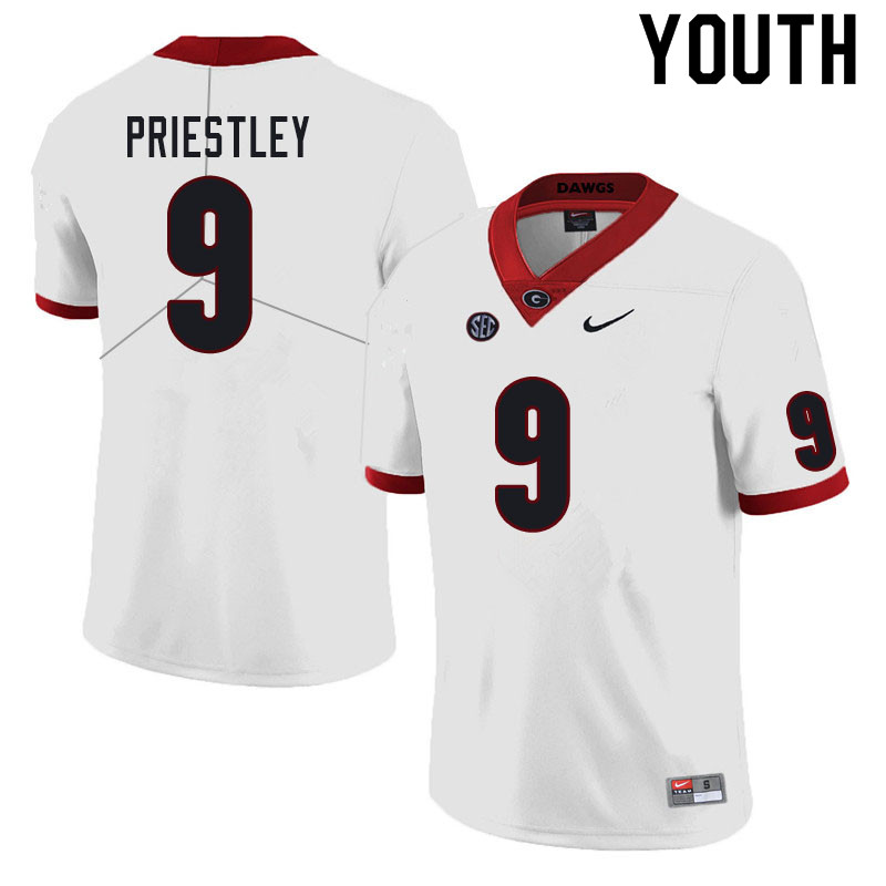 Youth #9 Nathan Priestley Georgia Bulldogs College Football Jerseys Sale-White