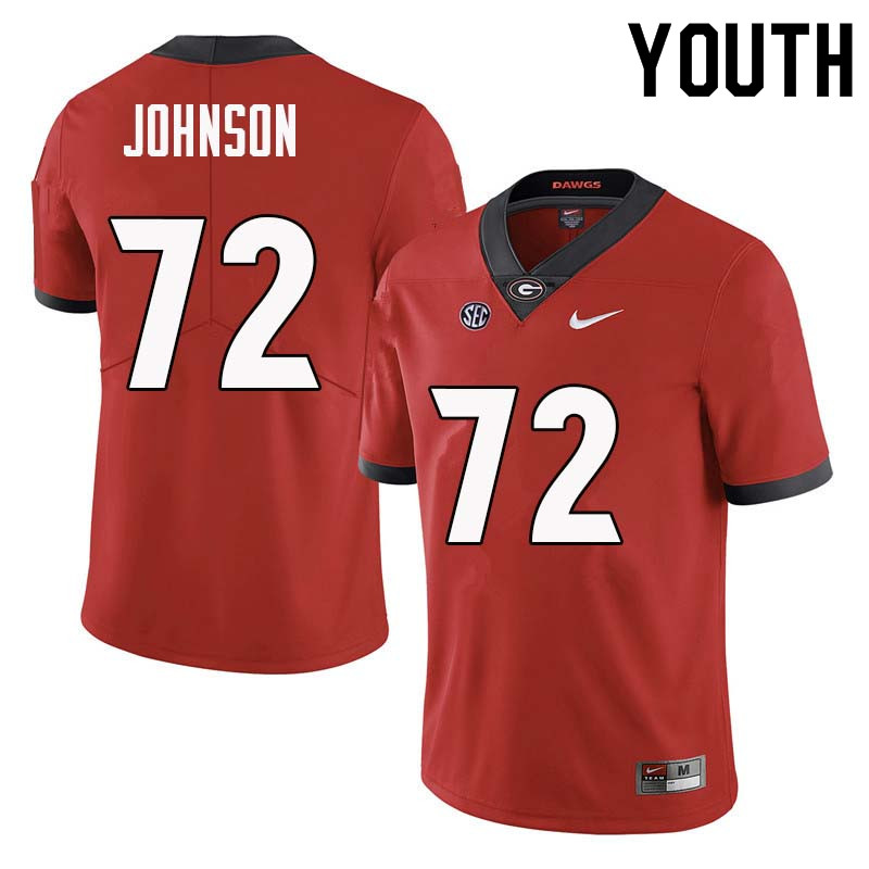 Youth Georgia Bulldogs #72 Netori Johnson College Football Jerseys Sale-Red
