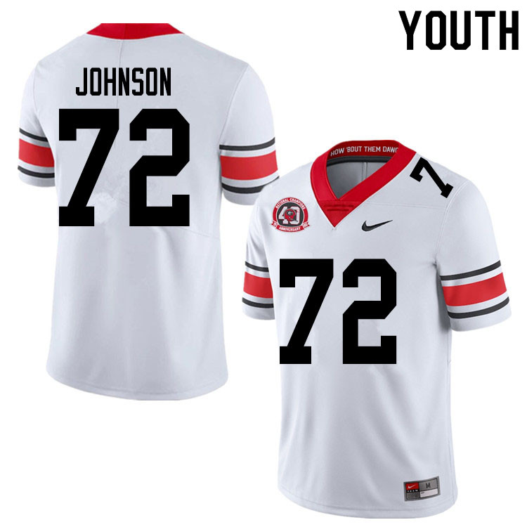 2020 Youth #72 Netori Johnson Georgia Bulldogs 1980 National Champions 40th Anniversary College Foot