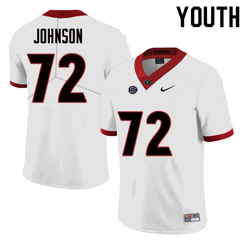 Youth Georgia Bulldogs #72 Netori Johnson College Football Jerseys Sale-White