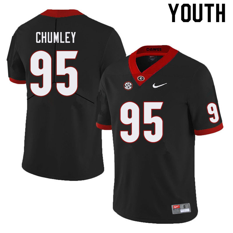 Youth #95 Noah Chumley Georgia Bulldogs College Football Jerseys Sale-Black
