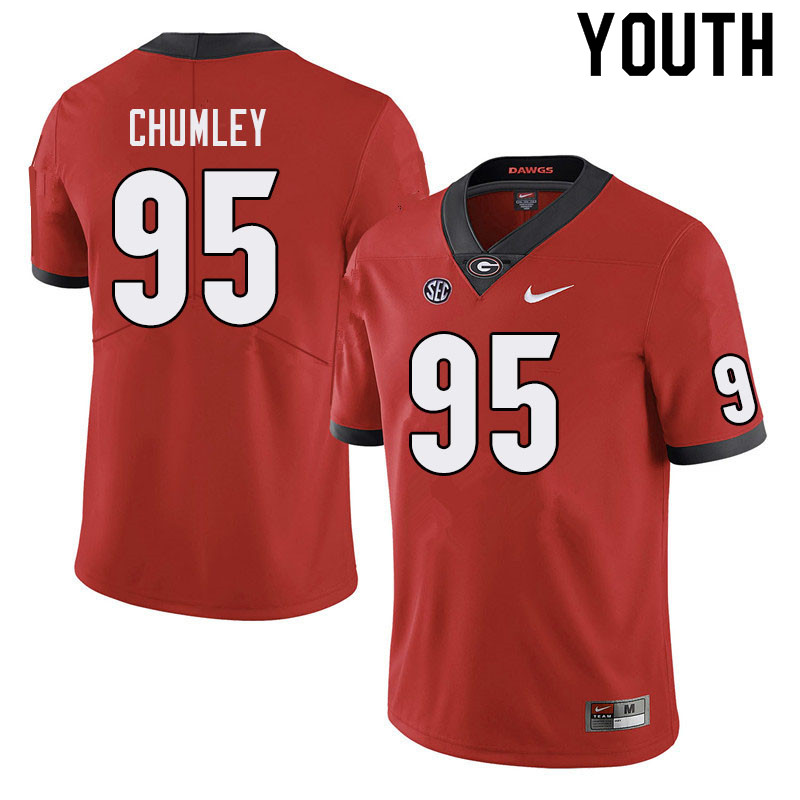 Youth #95 Noah Chumley Georgia Bulldogs College Football Jerseys Sale-Red