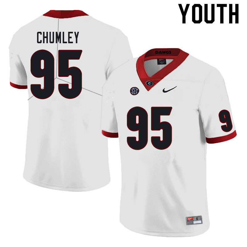 Youth #95 Noah Chumley Georgia Bulldogs College Football Jerseys Sale-White