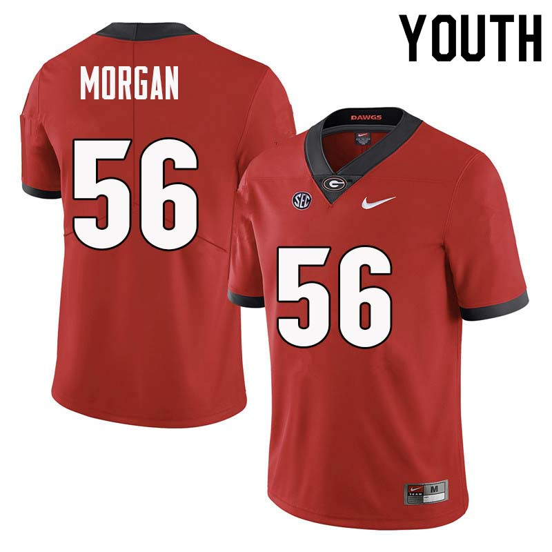 Youth Georgia Bulldogs #56 Oren Morgan College Football Jerseys Sale-Red