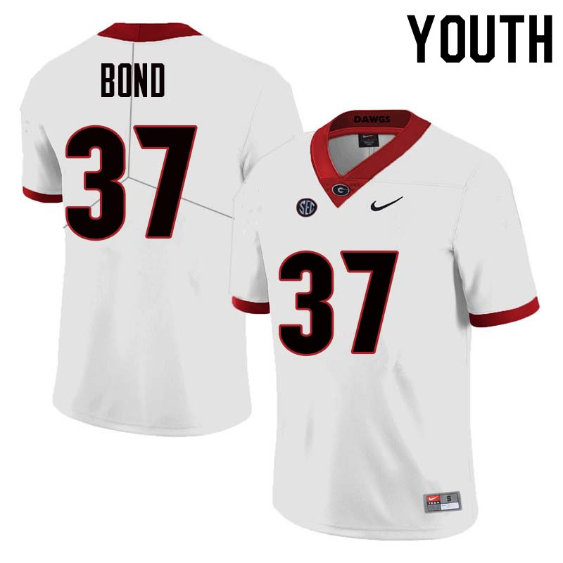 Youth Georgia Bulldogs #37 Patrick Bond College Football Jerseys Sale-White
