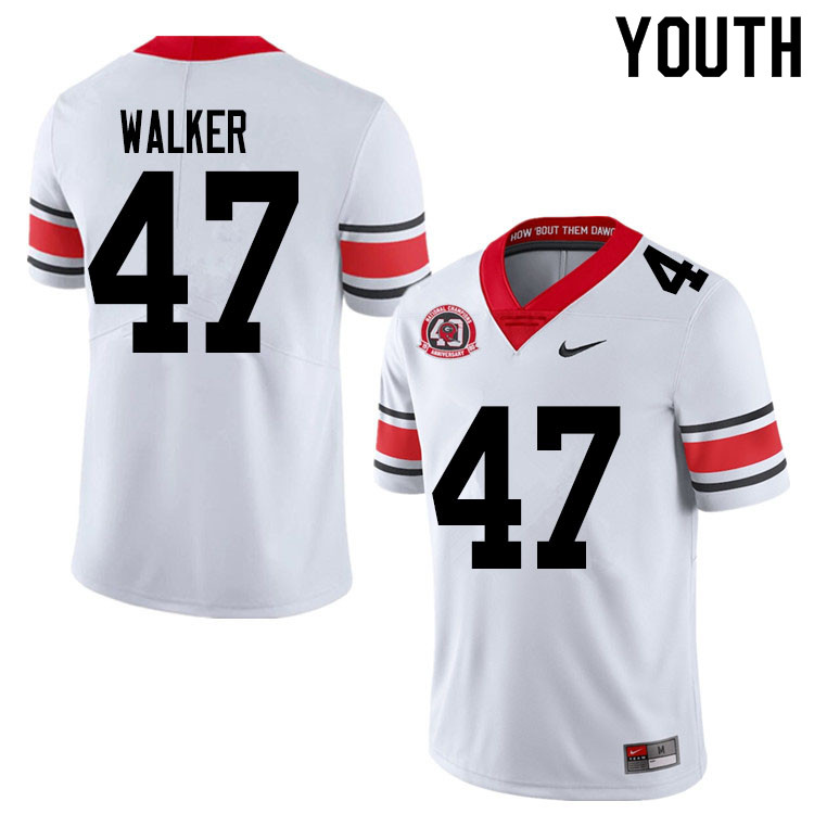 2020 Youth #47 Payne Walker Georgia Bulldogs 1980 National Champions 40th Anniversary College Footba