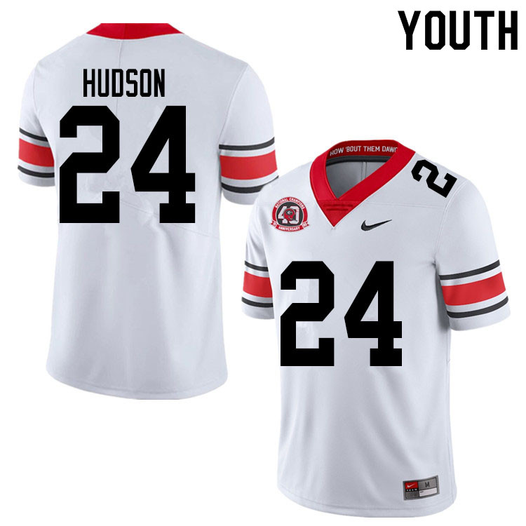 2020 Youth #24 Prather Hudson Georgia Bulldogs 1980 National Champions 40th Anniversary College Foot